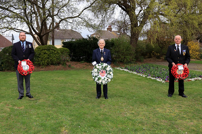 10 APR 2021 - Pictured:  L-R Andy Goodman (Royal Naval Association, Harwich & District Branch), Cllr Alan Todd, Mayor of Harwich, and Andy Wells (Royal British Legion, Harwich Branch) Wreath laying at the Mayor's Garden in memory of His Royal Highness the Prince Philip, Duke of Edinburgh, on behalf of all of the residents of Harwich. - Photo Copyright © Maria Fowler 2021