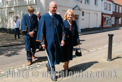 Cllrs Garry Calver and Pam Morrison. Harwich Town councillors. Procession from the Guildhall entering St Nicholas' Church, Harwich.