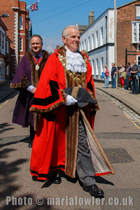 Mayor Cllr Alan Todd, followed by Deputy Mayor Cllr Robert Day. The procession from the Guildhall entering St Nicholas' Church, Harwich.