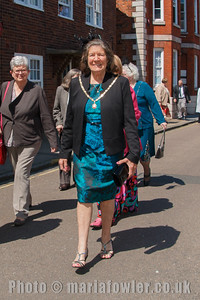 Mayoress Mrs Sylvia Todd. The procession from the Guildhall to St Nicholas' Church, Harwich.