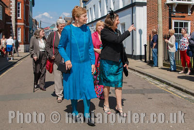 The procession from the Guildhall to St Nicholas' Church, Harwich, the Mayoress' party.