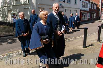 Harwich Town councillors. Procession from the Guildhall entering St Nicholas' Church, Harwich.