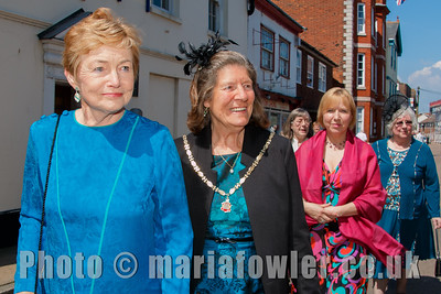 The Mayoress' party, Mrs Celia Strachan, Mayoress Mrs Sylvia Todd, Mrs Eleanor Brown, Mrs Michelle Day, Mrs Pat Thurlow. The procession from the Guildhall to St Nicholas' Church, Harwich.