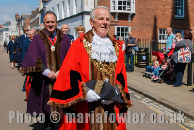 Mayor Cllr Alan Todd, followed by Deputy Mayor Cllr Robert Day and Harwich Town Councillors. The procession from the Guildhall to St Nicholas' Church, Harwich.
