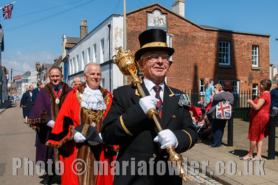 Macebearer John Cole followed by Mayor Cllr Alan Todd, Deputy Mayor Cllr Robert Day and Harwich Town Councillors. The procession from the Guildhall to St Nicholas' Church, Harwich.