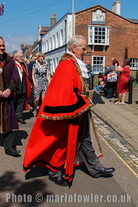 Mayor Cllr Alan Todd. The procession from the Guildhall entering St Nicholas' Church, Harwich.