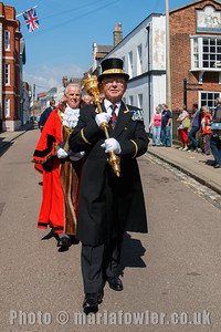 Macebearer John Cole followed by Mayor Cllr Alan Todd. The procession from the Guildhall to St Nicholas' Church, Harwich.