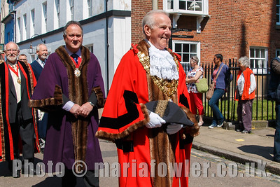 The Mayor of Harwich Cllr Alan Todd, followed by Deputy Mayor Cllr Robert Day and High Steward Chris Strachan. The procession from the Guildhall to St Nicholas' Church, Harwich.