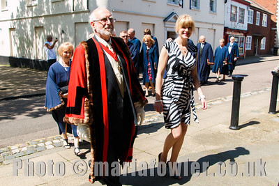 High Steward Chris Strachan and Town Clerk Lucy Ballard followed by Harwich Town councillors.  Procession from the Guildhall entering St Nicholas' Church, Harwich.
