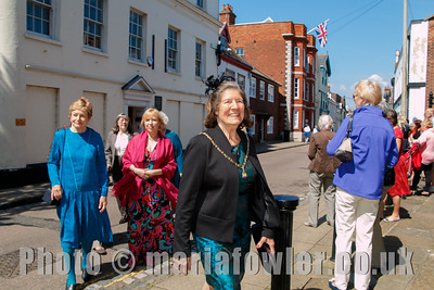 The procession from the Guildhall to St Nicholas' Church, Harwich. The Mayoress' party entering St.Nicholas' church.