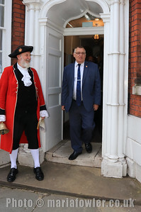 23 MAY 2019 – Pictured Town Crier, Richard Bench and Cllr. Charlie Powell - Harwich Town Council, Mayor Making – Photo Copyright © Maria Fowler 2019