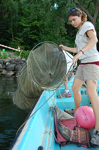 Pulling in fyke net for more fish to look at
