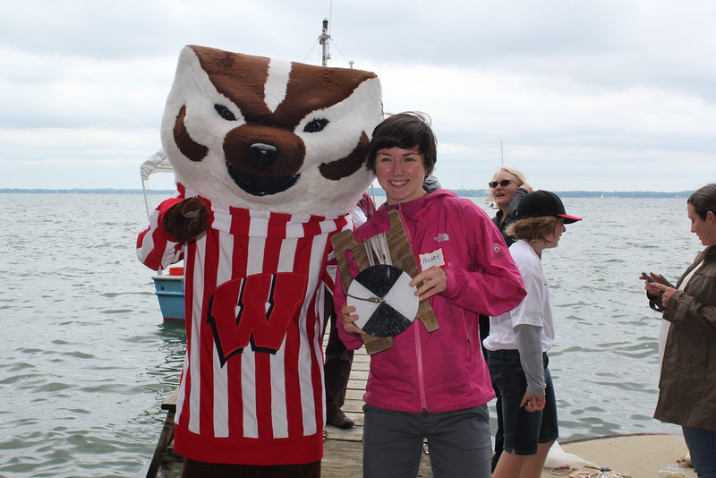 Bucky Badger with CFL Post doc Hilary Dugan, holding secchi disk
