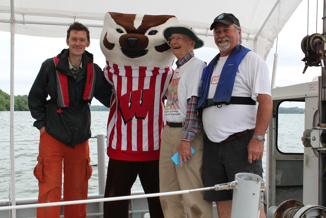 From left to right:  CFL Prof Jake Vander Zanden, Bucky Badger, CFL Prof Emeritus and past director John Magnuson, CFL Captain Dave Harring