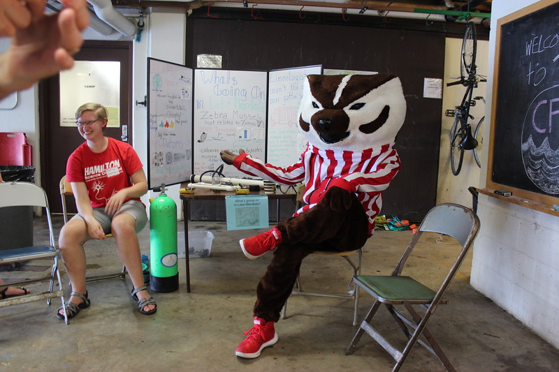 Petra Wakker and Bucky Badger at What's Going On In Mendota station
