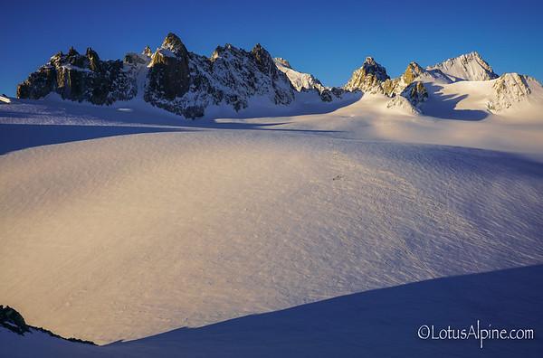 Tiny, tiny skiers, big terrain, gorgeous sunrise...Trient Platueau, Switzerland
