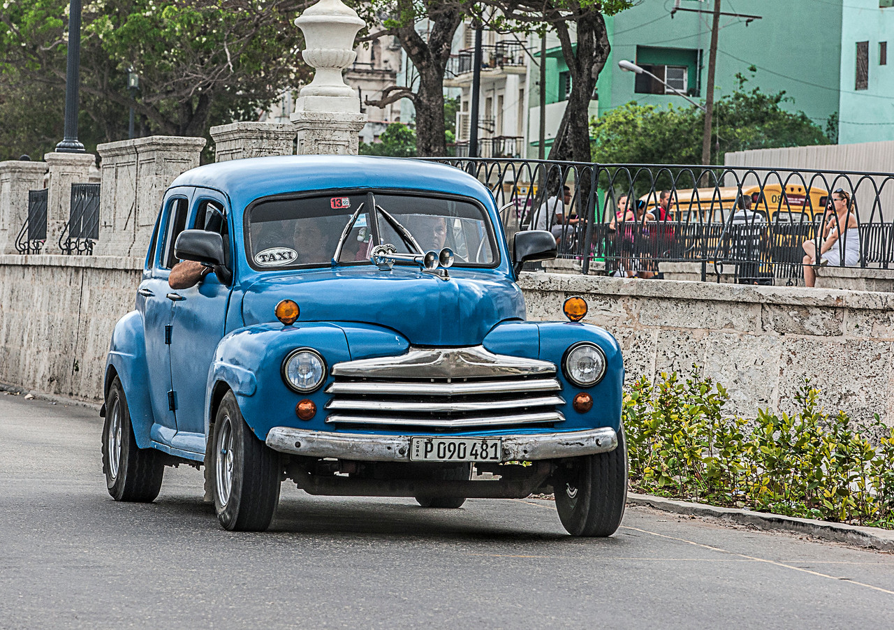 Historic Blue American Car in Havana