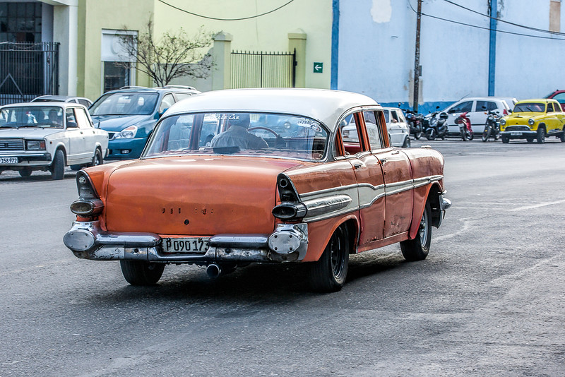 Orange American Car in Havana