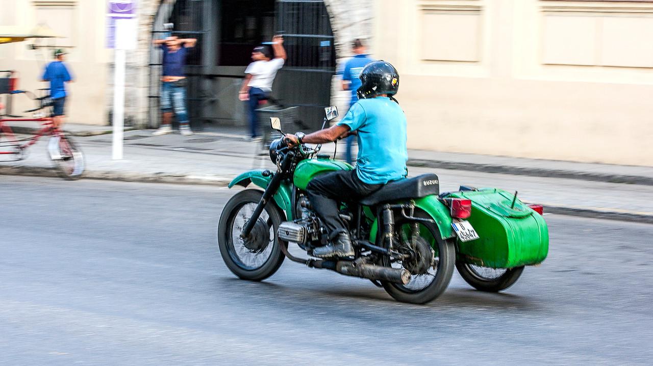 Old American Motorbike in Havana