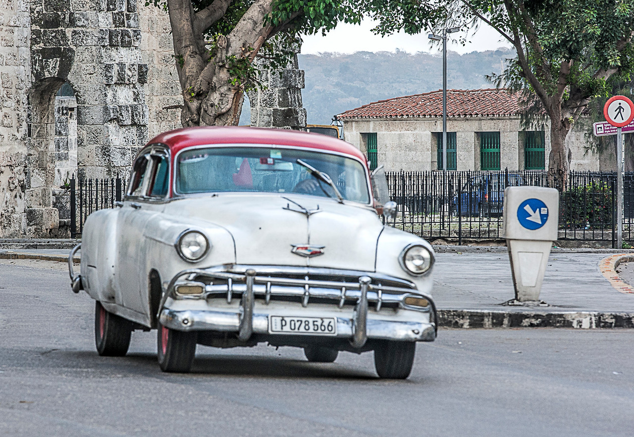 Old White American Car in Cuba