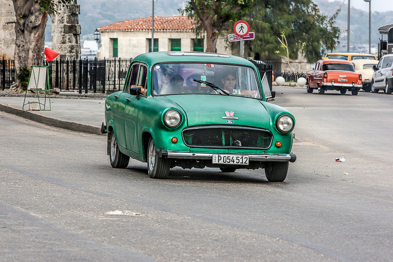 Old Green American Car in Havana
