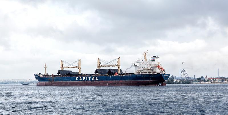 Oil Tanker in Havana Harbour in Cuba