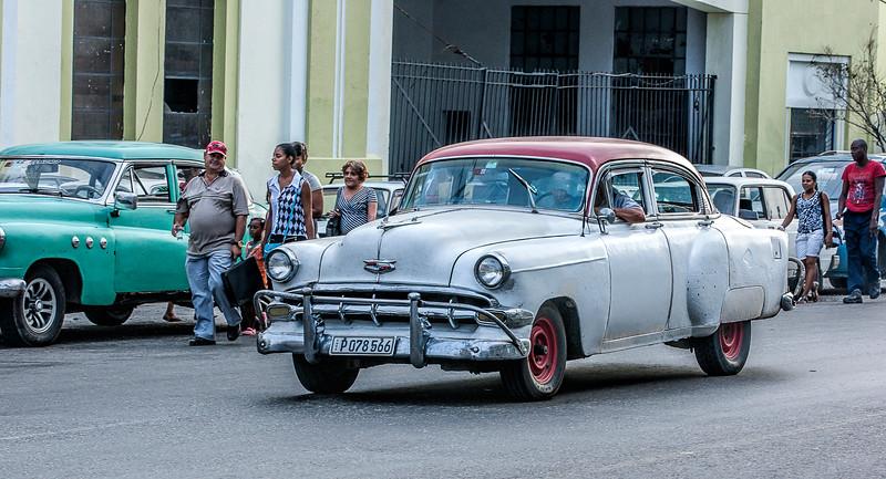 White American Car in Havana