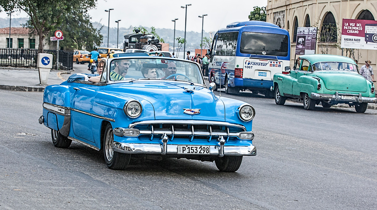 Old Blue American Car in Havana
