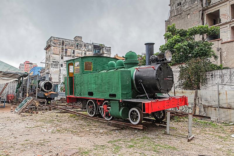 Historic Green American Steam Train in the heart of Havana, Cuba