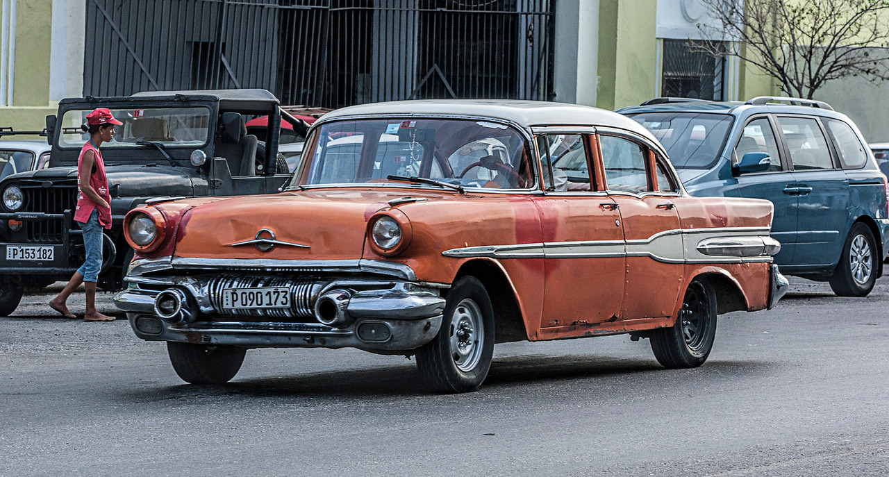 Orange American Car in Havana