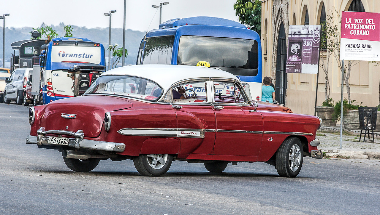 Red American Car in Havana