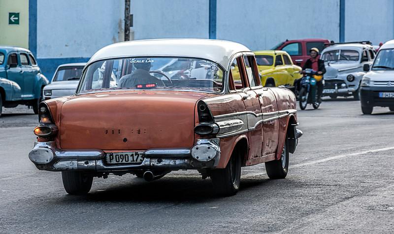 Orange American Taxi in Havana