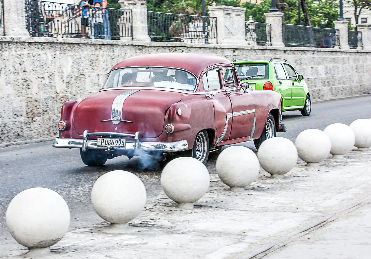 Polluted American Car in Havana