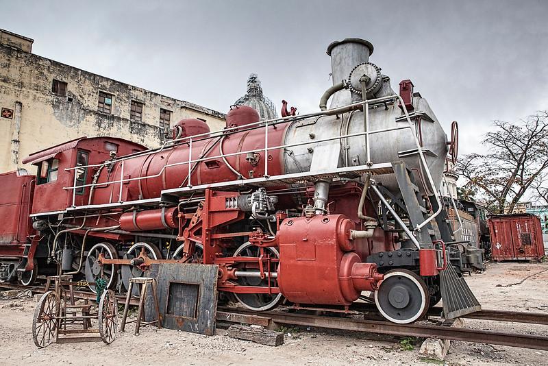 Old American Steam Train in Havana, Cuba