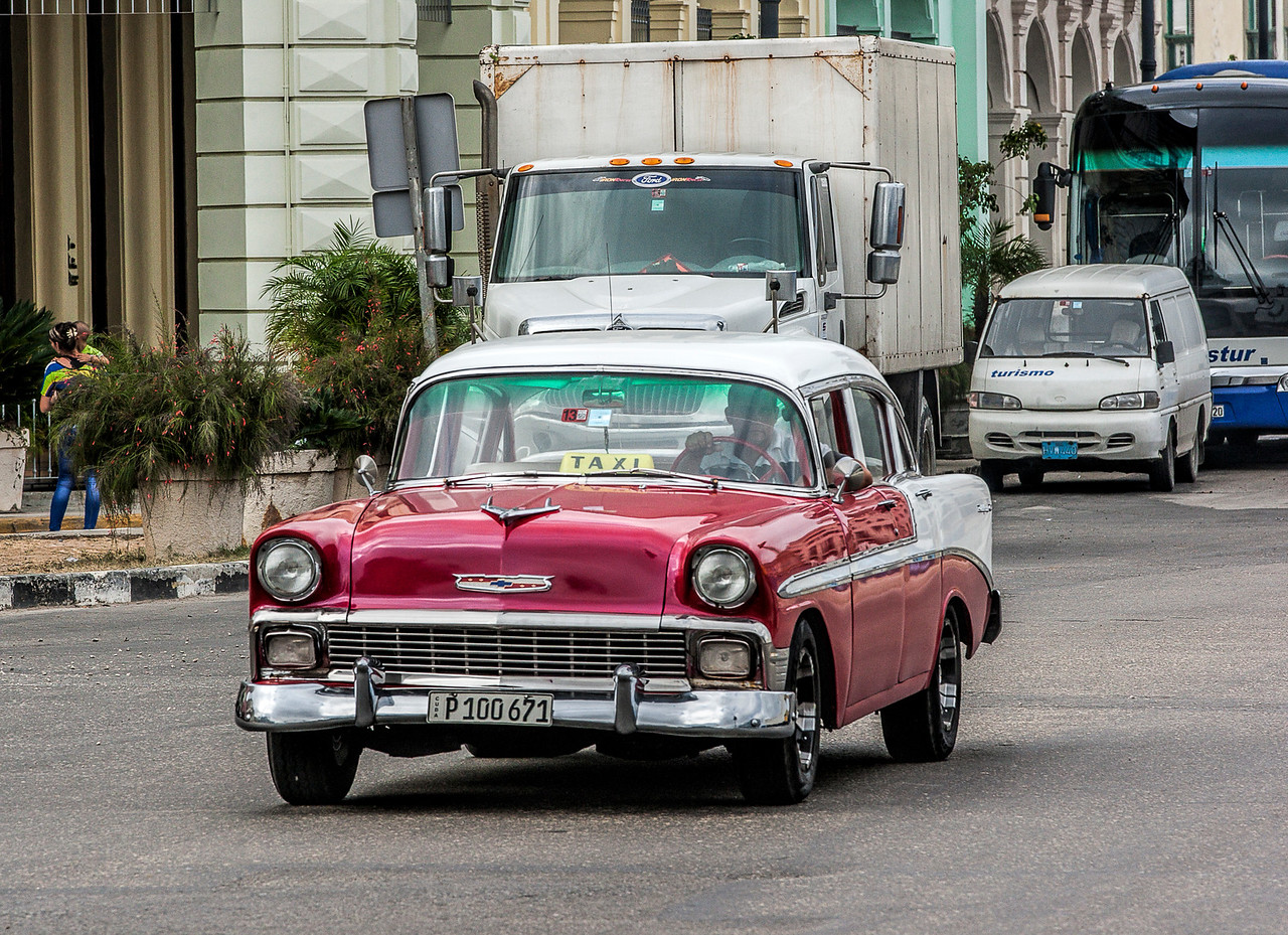Historic Red American Car in Havana