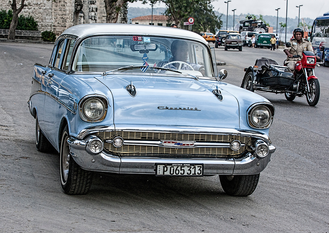 Old Blue American Chevrolet in Havana