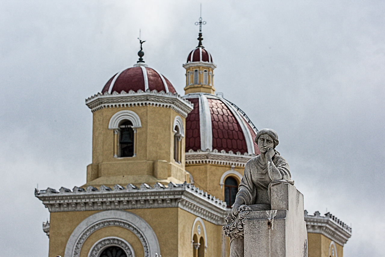 Church and Statue in the Christopher Columbus Cemetery in Havana