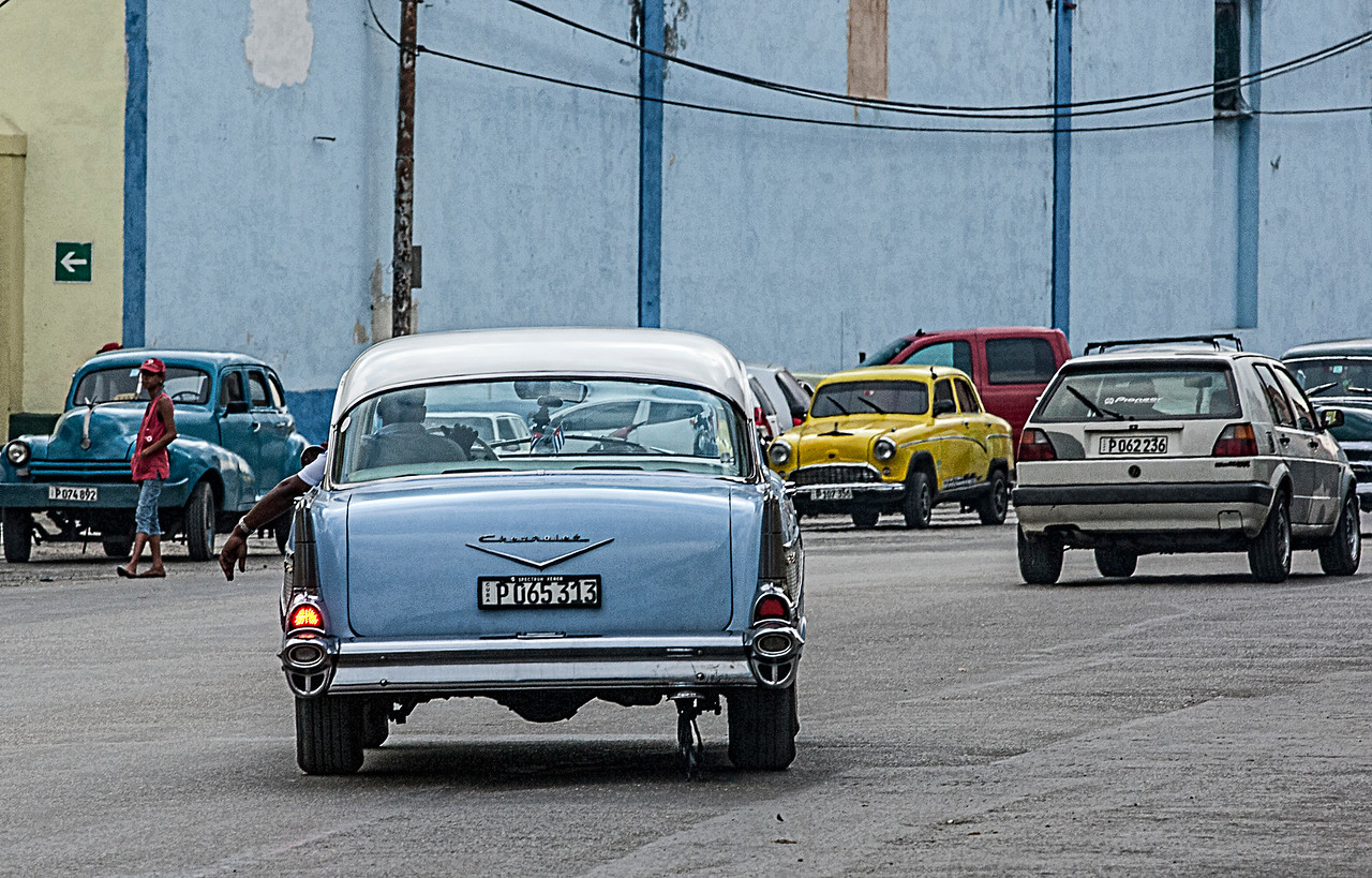 Old Blue Chevrolet Car in Havana