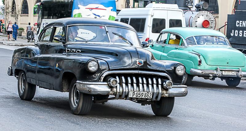 Old Black American Car in Havana