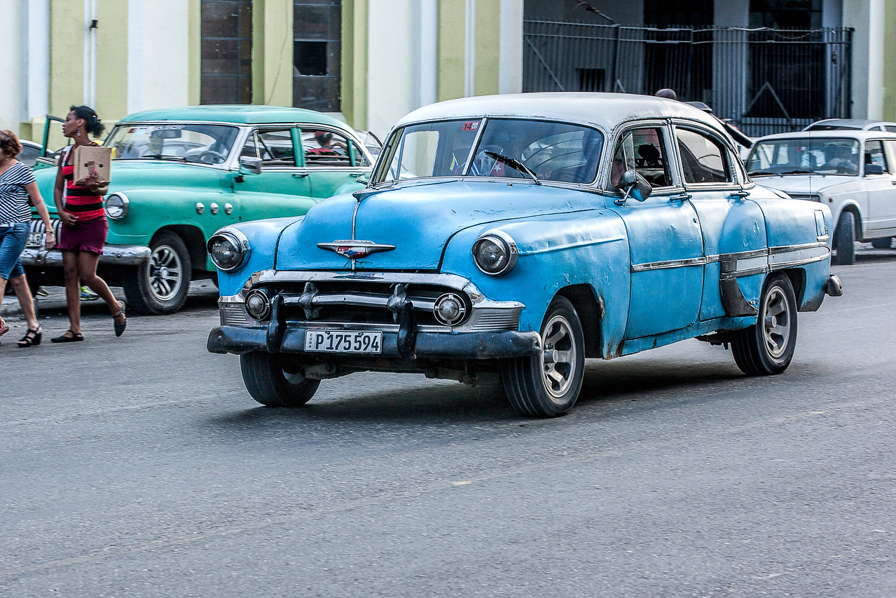 Blue American Car in Havana