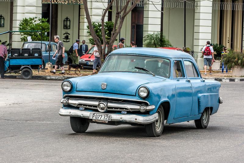 Historic Blue American Car in Havana