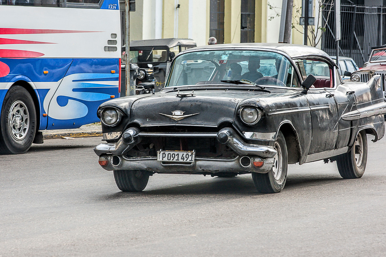 Old Black American Car in Havana