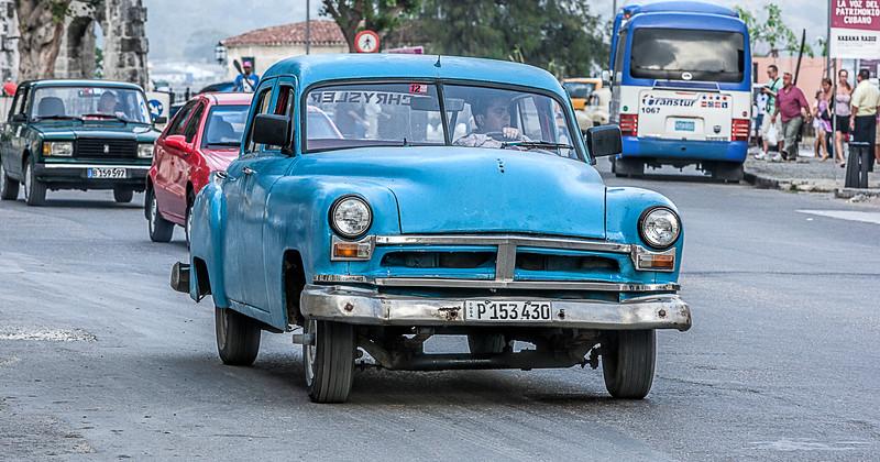 Old Blue American Car in Havana