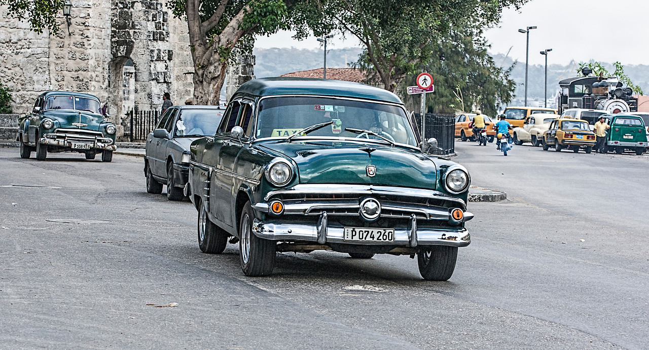 Old Turquoise American Car in Havana