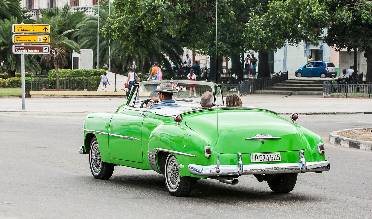 Historic Green American Car in Havana