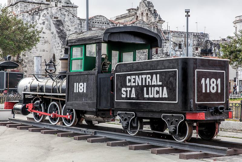 Historic American steam engine in Havana
