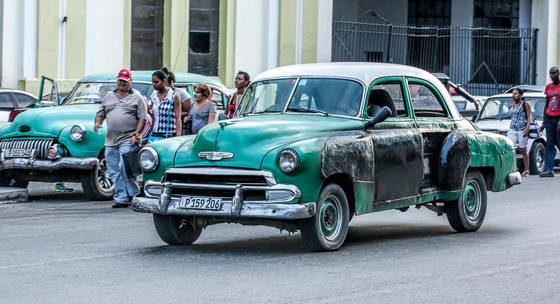 Green American Car in Havana