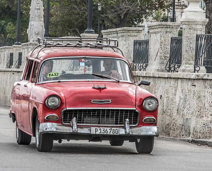 Red American Car in Havana