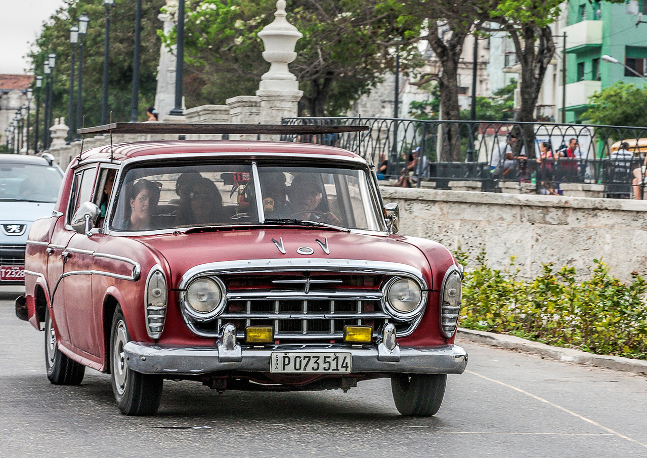 Historic Red Restored Car in Havana