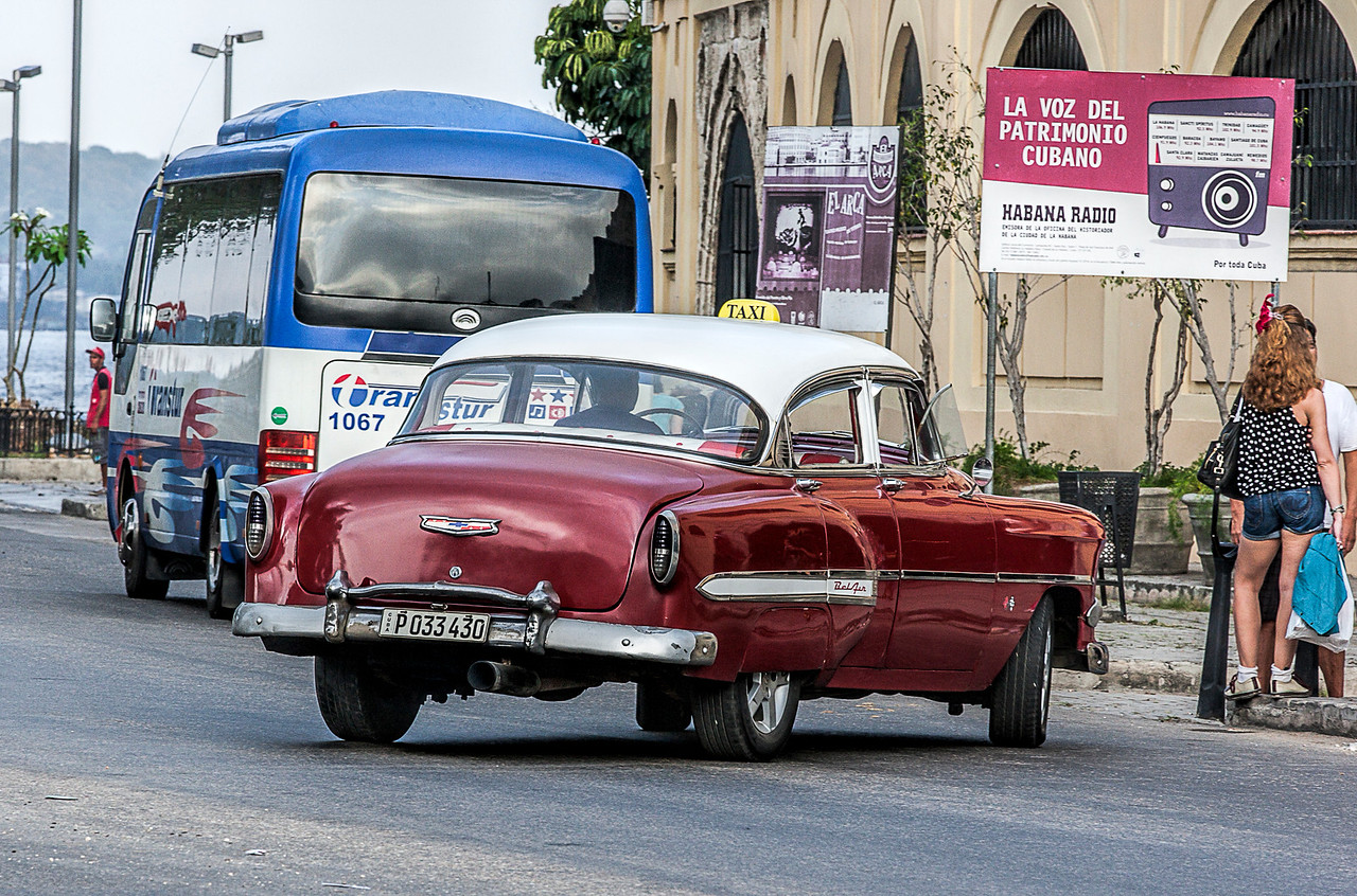 Red American Taxi in Havana